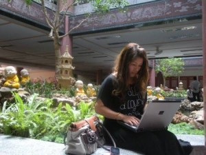 Angella Thai Girlfriend Advisor at Chinese Temple writing